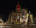 St Giles by night red for remembrance 13th November 2017