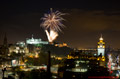 Edinburgh Military Tattoo Fireworks 27th August 2015 - with a wider city skyline view