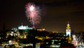 Edinburgh Military Tattoo Fireworks 28th August 2015 - with a wider city skyline view